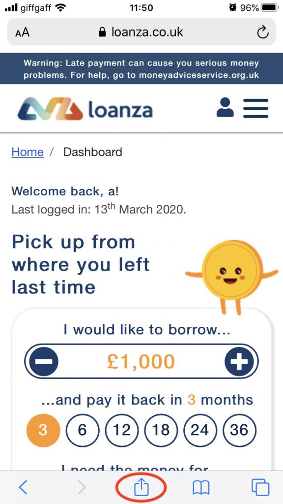 Loanza dashboard on iPhone