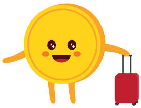 Smiley penny coin with a travel luggage