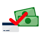 pound bills and credit card with a red checkmark