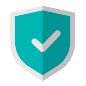 blue shield with a checkmark